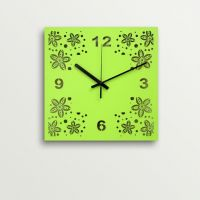 ArtEdge Green Flower Design Laser Cut Work Wall Clock