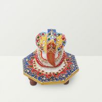 Chitra Handicraft Marble Chowki And Colorful Ganesh