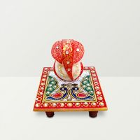 Chitra Handicraft Marble Chowki And Red Color Ganesh