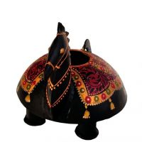 Craftghar Handcrafted Candle Stand Horse In Wood And Metal