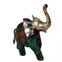 Craftghar Handcrafted Elephant With Raised Trunk In Wood And Metal