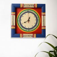 Exclusivelane Warli Handpainted Clock Blue And Red