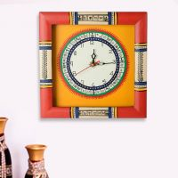 Exclusivelane Warli Handpainted Clock Red And Yellow