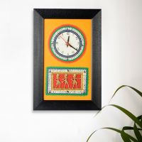 Exclusivelane Warli Handpainted Dhokra Work Clock Black And Yellow