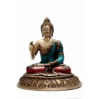 Pure Divine Debating Buddha On Lotus Flower Base With Beads And Stones