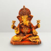 Pure Divine Ganesha With Twisted Trunk Red