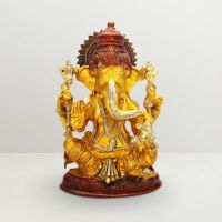 Pure Divine Sitting Lord Ganesha Golden Yellow