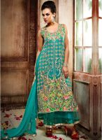 Inddus Blue Embroidered Dress Material