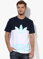 Adidas Originals Color Block T White Round Neck T-Shirt