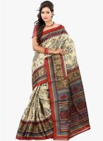 Lookslady Beige Printed Saree