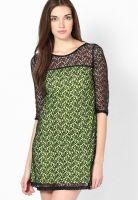 Palette Green Colored Embroidered Shift Dress