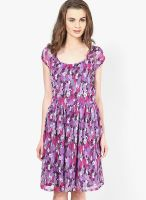 Shibori Designs Purple Colored Printed Skater Dress