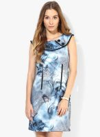 Latin Quarters Blue Colored Printed Bodycon Dress