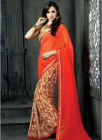 Hypnotex Orange Printed Saree
