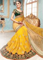 Hypnotex Yellow Embroidered Saree