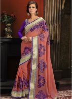 Xclusive Chhabra Pink Embroidered Saree