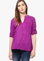 s.Oliver Purple Solid Shirt