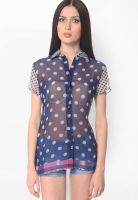 Meira Blue Printed Shirt