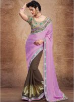 Hypnotex Purple Embroidered Saree