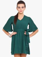Anaphora Green Colored Solid Skater Dress