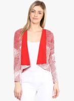 Athena Red Printed Shrug