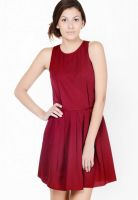 Pera Doce Maroon Colored Solid Skater Dress