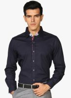 Provogue Navy Blue Solid Slim Fit Formal Shirt