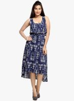 Loco En Cabeza Navy Blue Colored Printed Asymmetric Dress