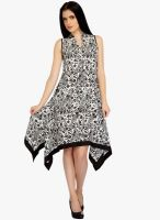 Mineral White Colored Printed Asymmetric Dress