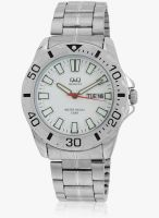 Q&Q A174n201y Silver/White Analog Watch