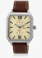 Titan 1643Sl02 Beige/Brown Analog Watch