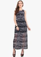 Trend Arrest Navy Blue Colored Printed Maxi Dress