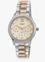 Casio Enticer Lady's Ltp-E306rg-7Avdf (A1002) Silver-Rose Gold/White Analog Watch