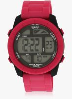Q&Q M123j003y-M Pink/Grey Digital Watch