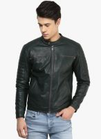Atorse Green Solid Leather Jacket