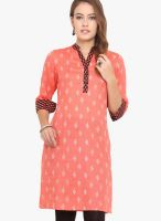 Titch Button Orange Printed Kurtas