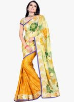 Triveni Sarees Yellow Embellished Saree