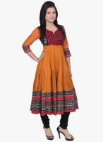 Chhipaprints Mustard Yellow Embroidered Anarkali