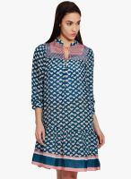 Label Ritu Kumar Blue Printed Skater Dress