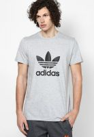 Adidas Originals Grey Melange Printed Round Neck T-Shirts