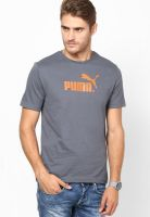 Puma Grey Round Neck T-Shirts