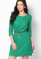 Vero Moda Green Colored Solid Shift Dress
