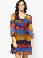 Meira Blue Colored Printed Shift Dress