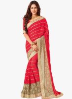 Vishal Red Embellished Saree
