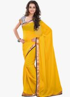 Lookslady Yellow Solid Saree