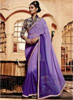 Viva N Diva Purple Embroidered Saree