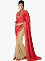 Viva N Diva Red Embroidered Saree