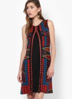 Global Desi Black Colored Printed Skater Dress