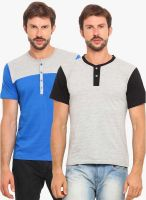Americania Pack Of 2 Multicoloured Solid Henley T-Shirts