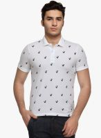 WYM White Printed Polo T-Shirt